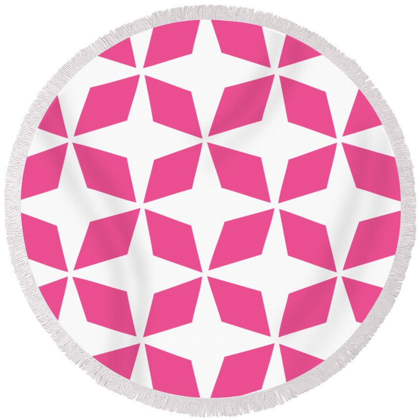 Moroccan Inlay Round Beach Towel featuring the digital art Moroccan Inlay With Border In French Pink by Custom Home Fashions