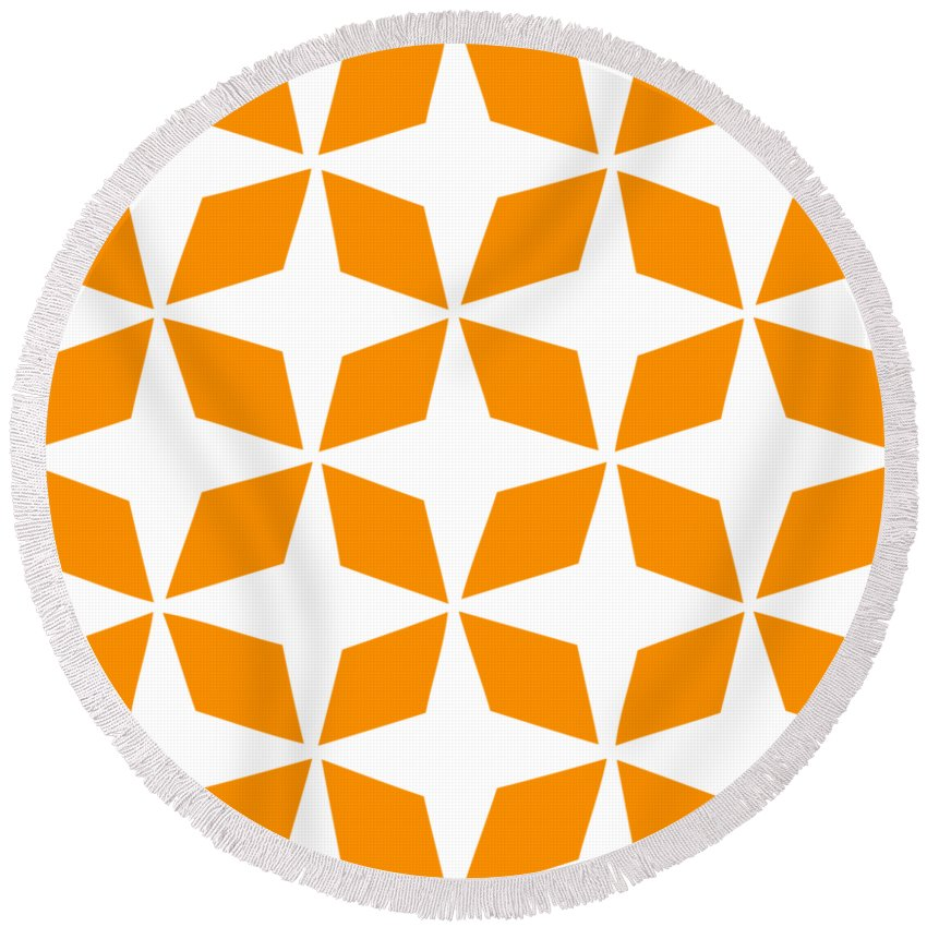 Moroccan Inlay Round Beach Towel featuring the digital art Moroccan Inlay With Border In Tangerine by Custom Home Fashions