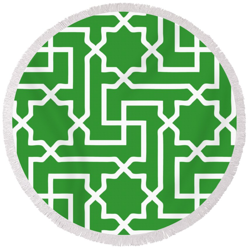 Moroccan Key Round Beach Towel featuring the digital art Moroccan Key With Border In Dublin Green by Custom Home Fashions