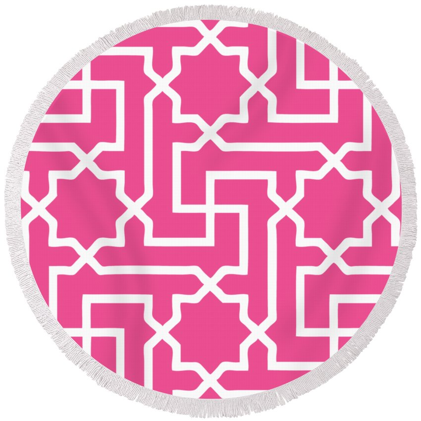 Moroccan Key Round Beach Towel featuring the digital art Moroccan Key With Border In French Pink by Custom Home Fashions