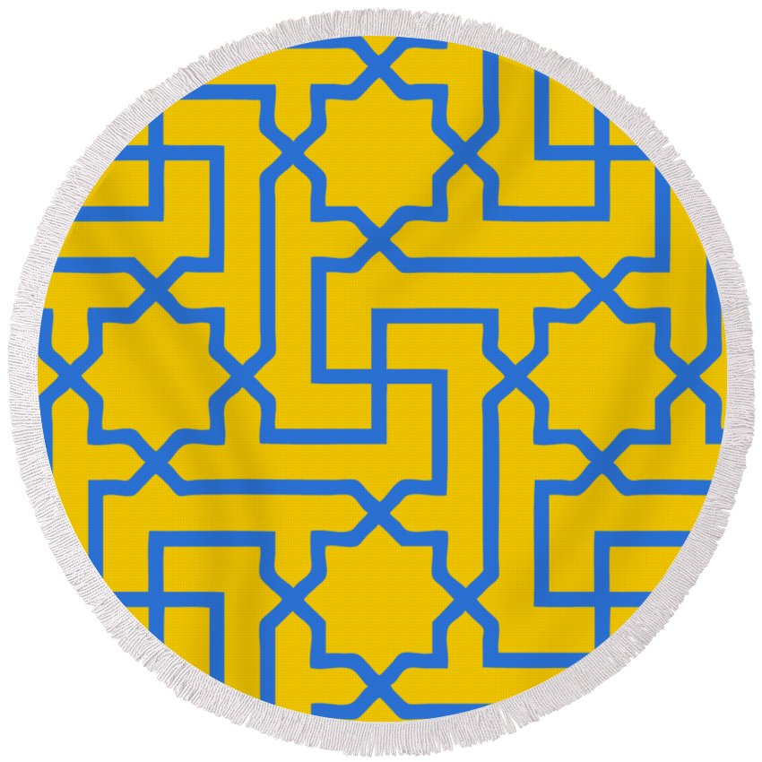 Moroccan Key Round Beach Towel featuring the digital art Moroccan Key With Border In Mustard by Custom Home Fashions