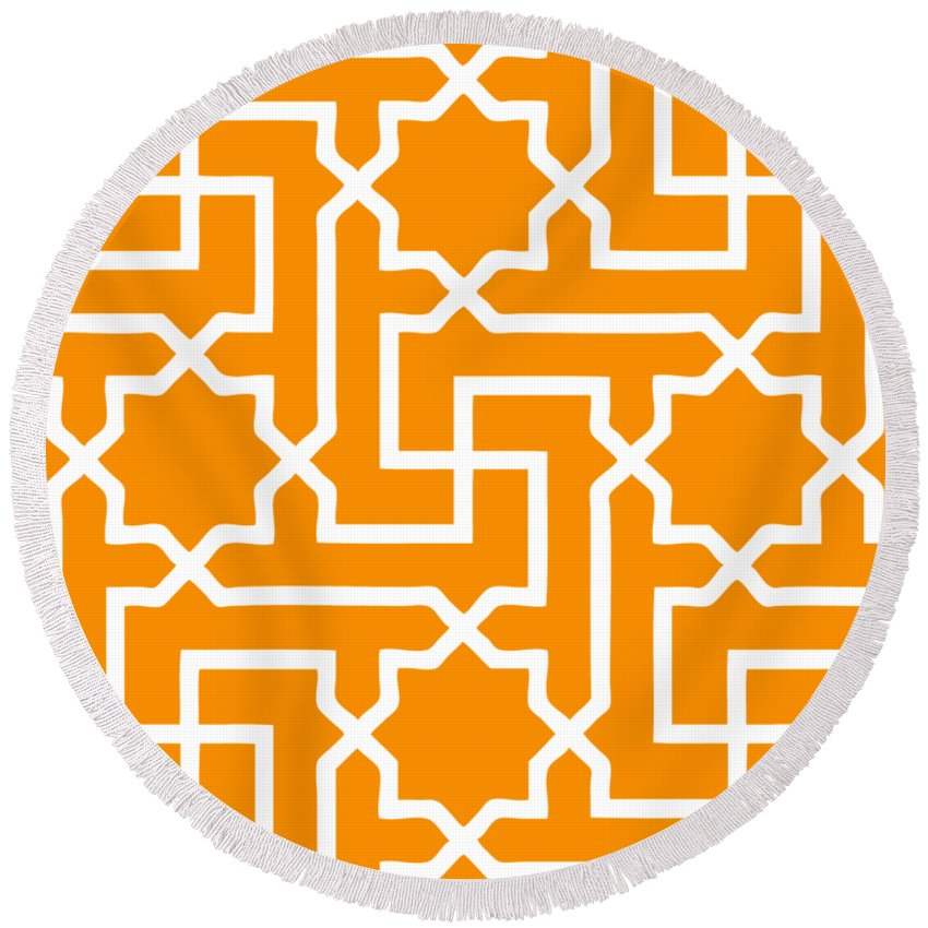 Moroccan Key Round Beach Towel featuring the digital art Moroccan Key With Border In Tangerine by Custom Home Fashions