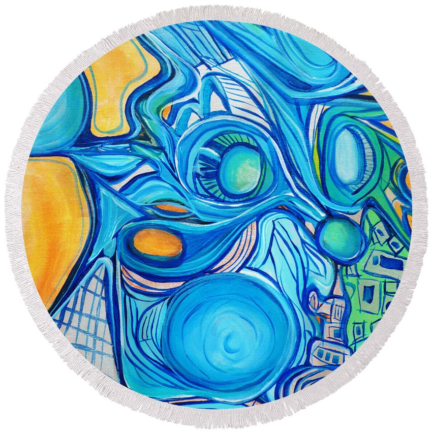 Blue Round Beach Towel featuring the painting Morphism And Energy by Larry Calabrese