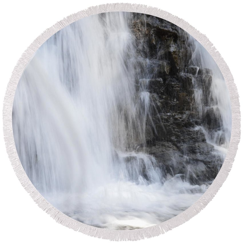 Water Round Beach Towel featuring the photograph Morrell Falls 4 by Janie Johnson