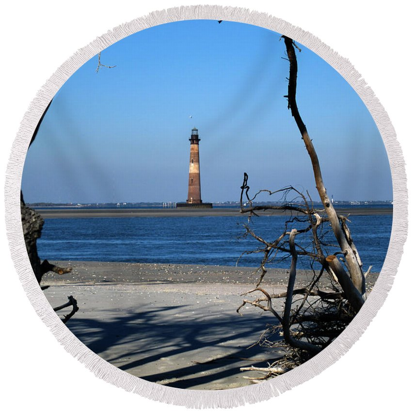 Photography Round Beach Towel featuring the photograph Morris Island Lighthouse Charleston Sc by Susanne Van Hulst