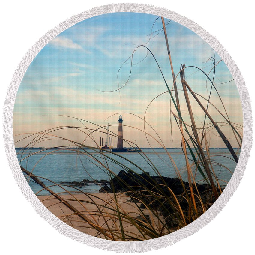 Photography Round Beach Towel featuring the photograph Morris Island Lighthouse In Charleston Sc by Susanne Van Hulst