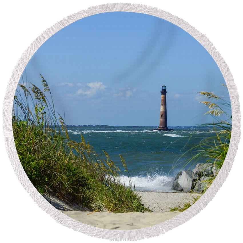 America Round Beach Towel featuring the photograph Morris Island Lighthouse Walkway by Jennifer White