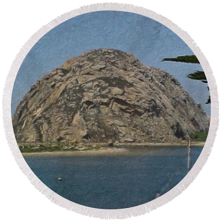 California Round Beach Towel featuring the painting Morro Rock California Painting by Teresa Mucha
