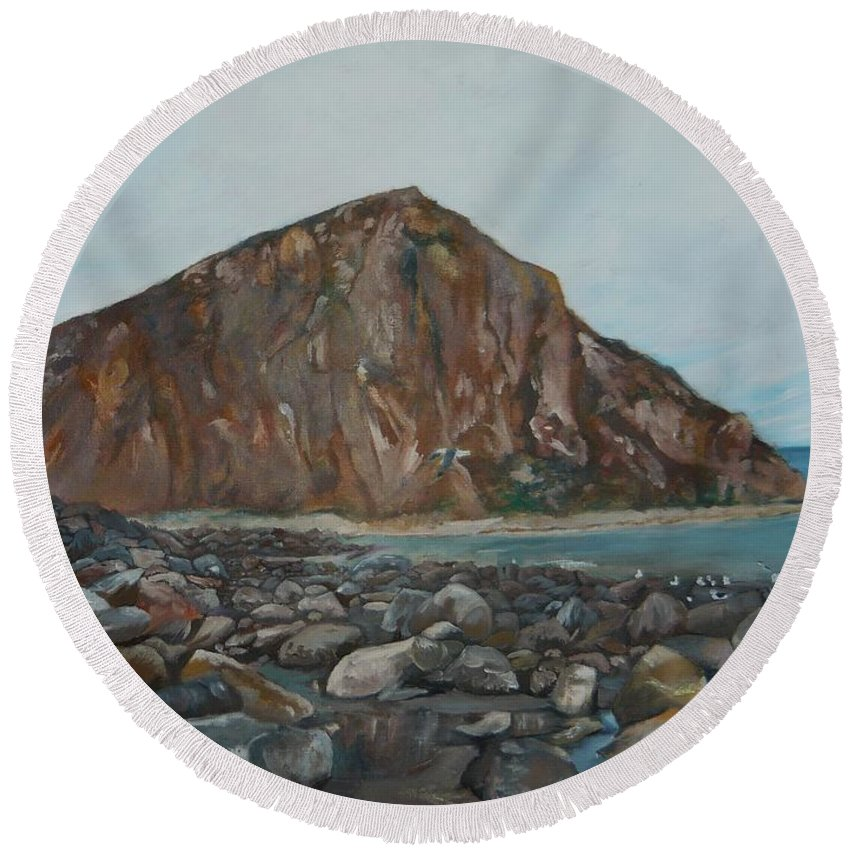Morro Bay Round Beach Towel featuring the painting Morro Rock by Travis Day