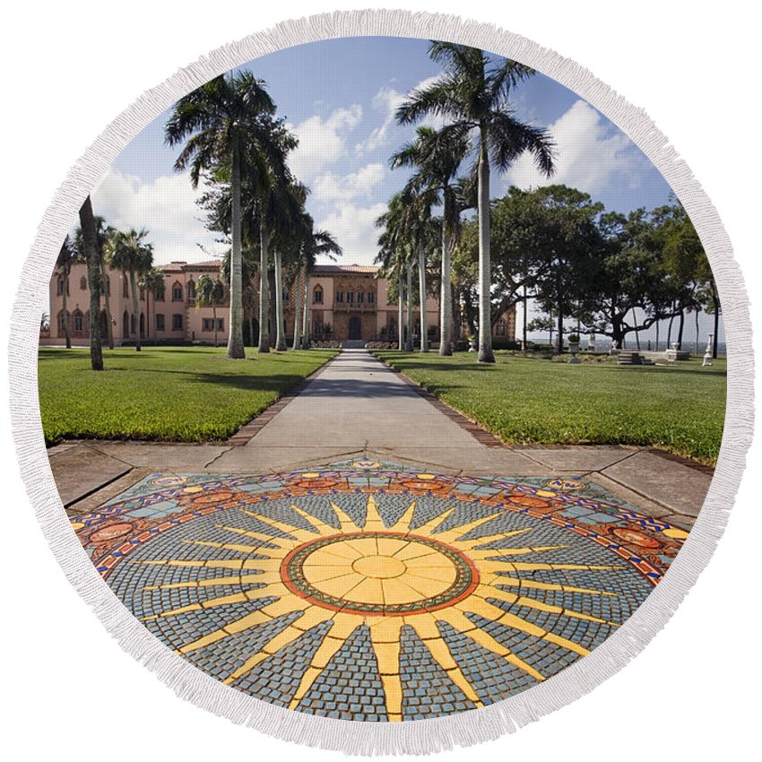 Mosaic Round Beach Towel featuring the photograph Mosaic At The Ca D by Mal Bray