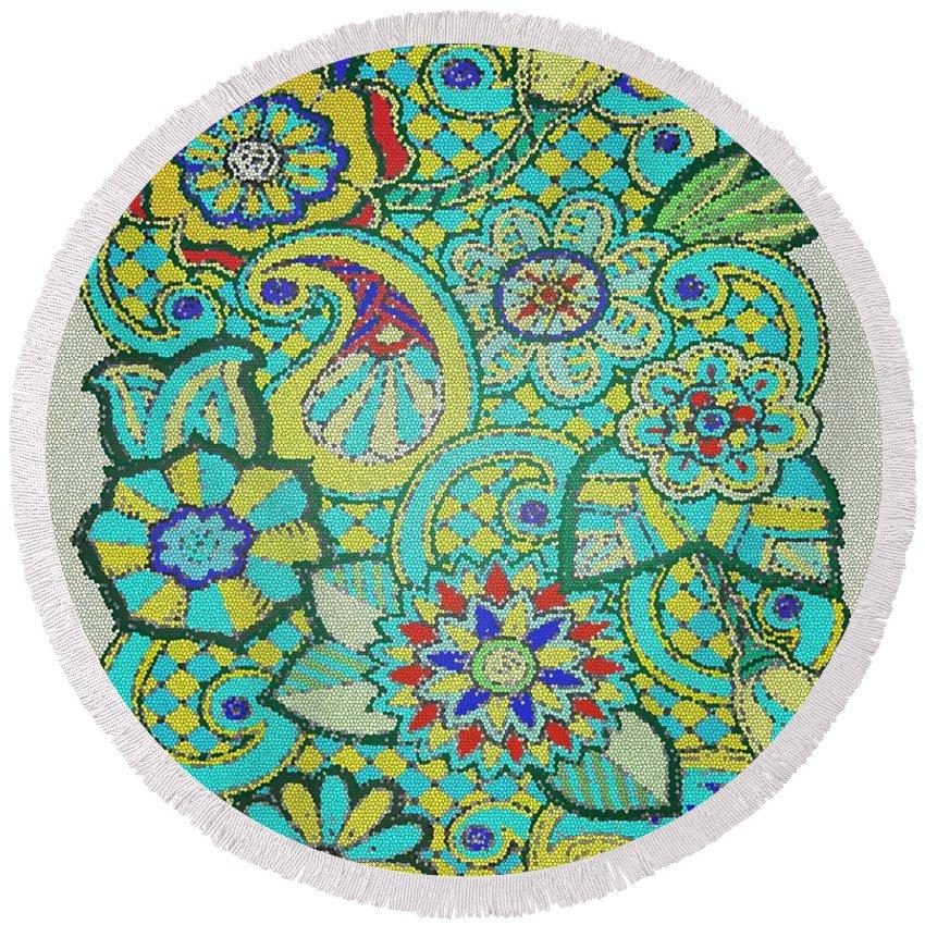 Abstract Round Beach Towel featuring the digital art Mosaic by Davandra Cribbie