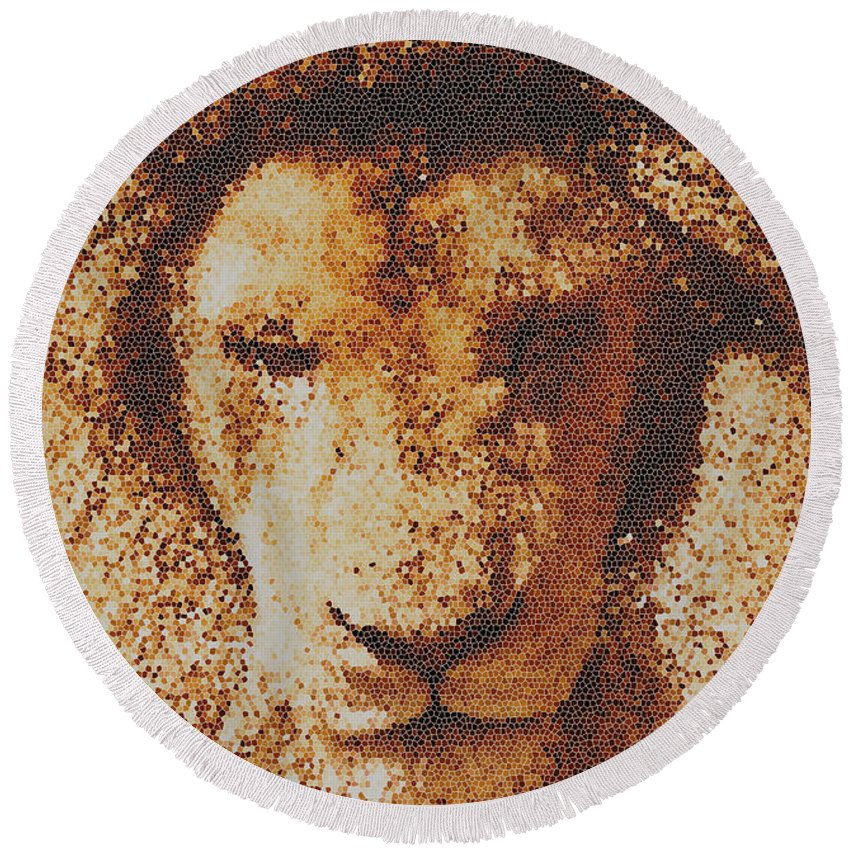 Mosaic Lion Round Beach Towel featuring the photograph Mosaic Lion by Scott Carruthers