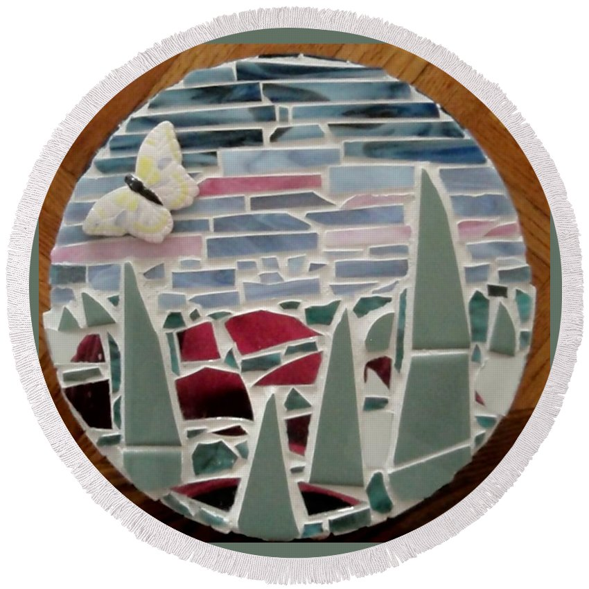 Mosaic Round Beach Towel featuring the glass art Mosaic Sailboats by Jamie Frier