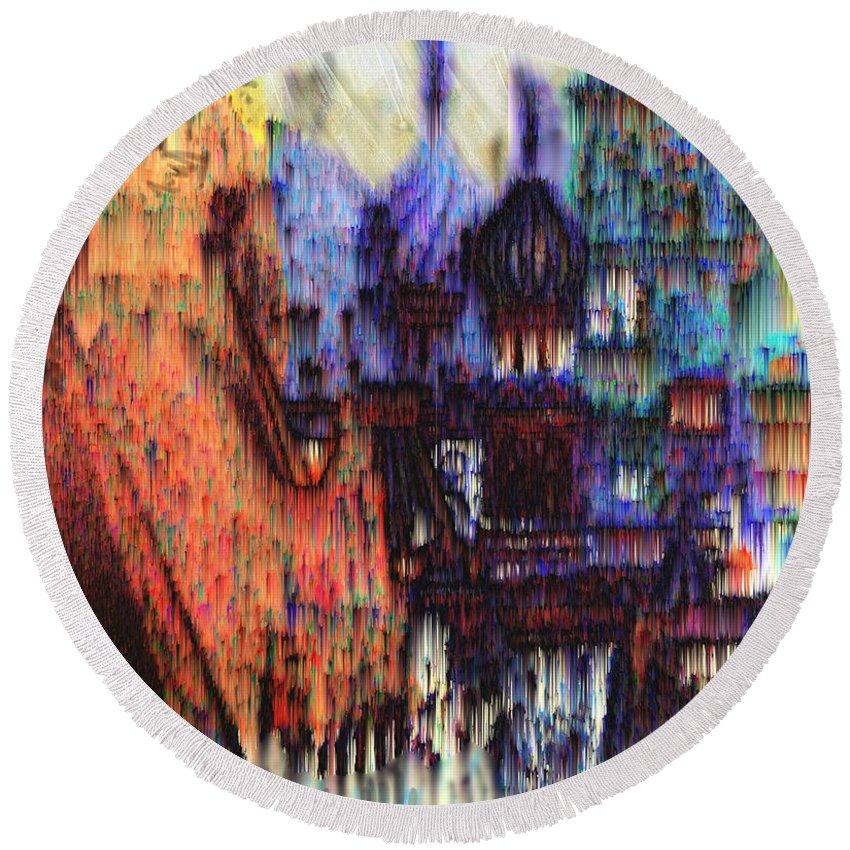 Fog Round Beach Towel featuring the digital art Moscow in the Rain by Seth Weaver