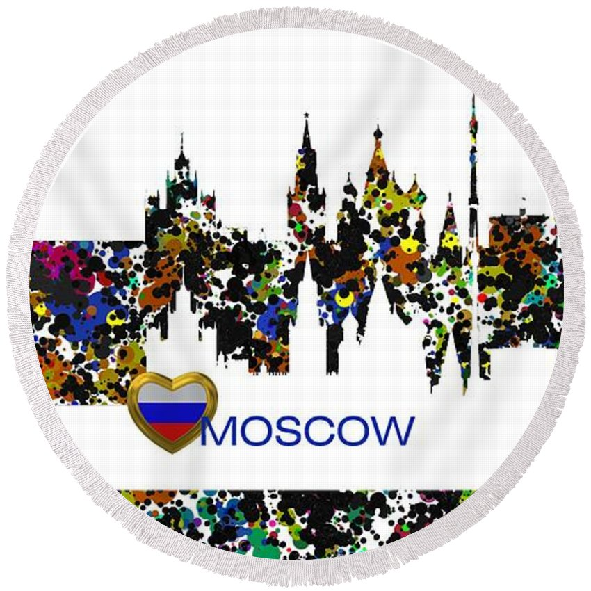 Moscow Round Beach Towel featuring the digital art Moscow Skylines by Alberto RuiZ