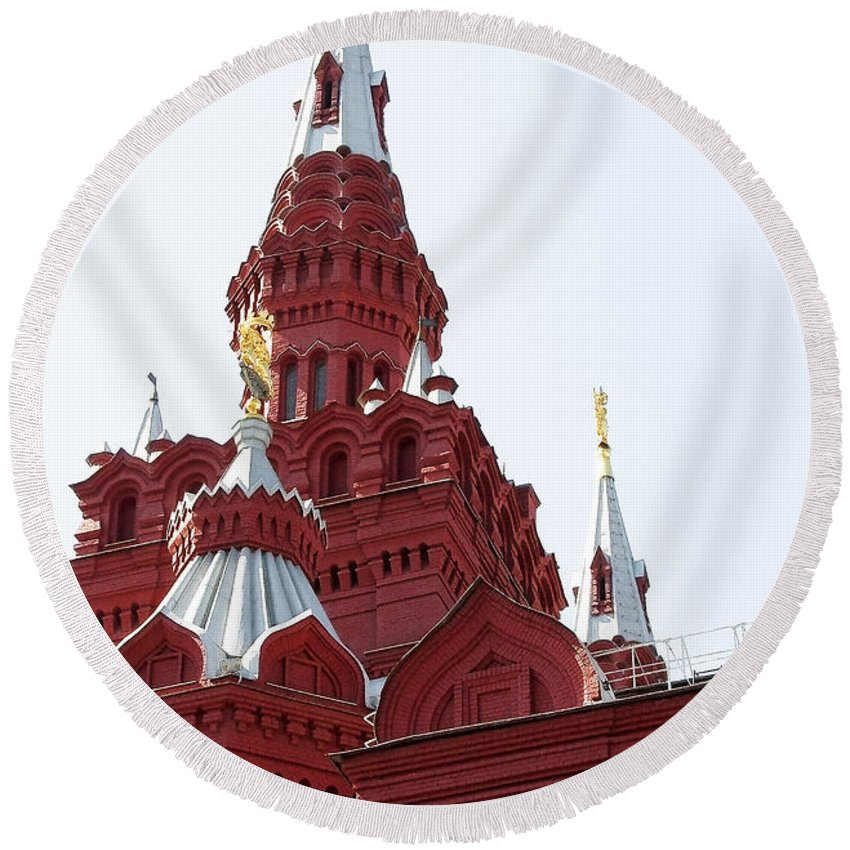 Architecture Round Beach Towel featuring the photograph Moscow04 by Svetlana Sewell