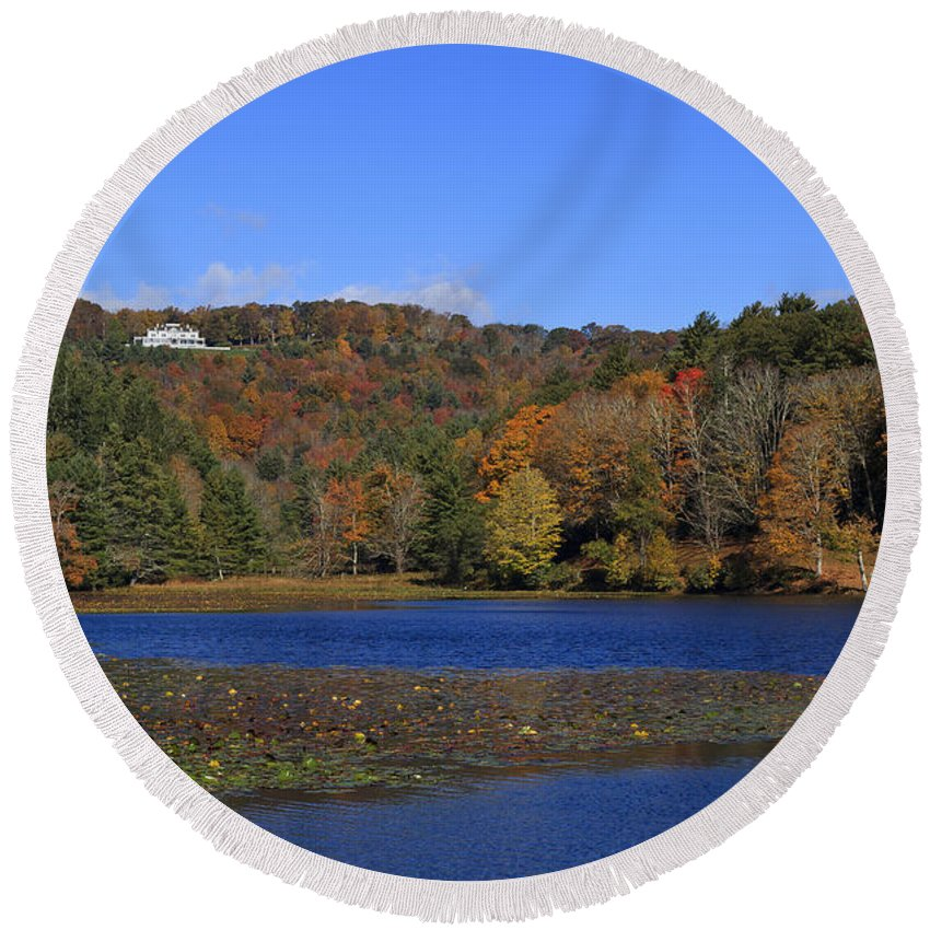 Moses Round Beach Towel featuring the photograph Moses Cone Manor House And Bass Lake by Jill Lang