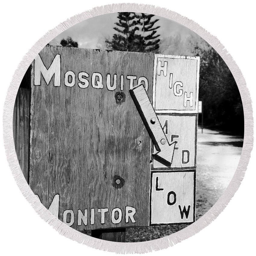 Mosquito Round Beach Towel featuring the photograph Mosquito Monitor by David Lee Thompson