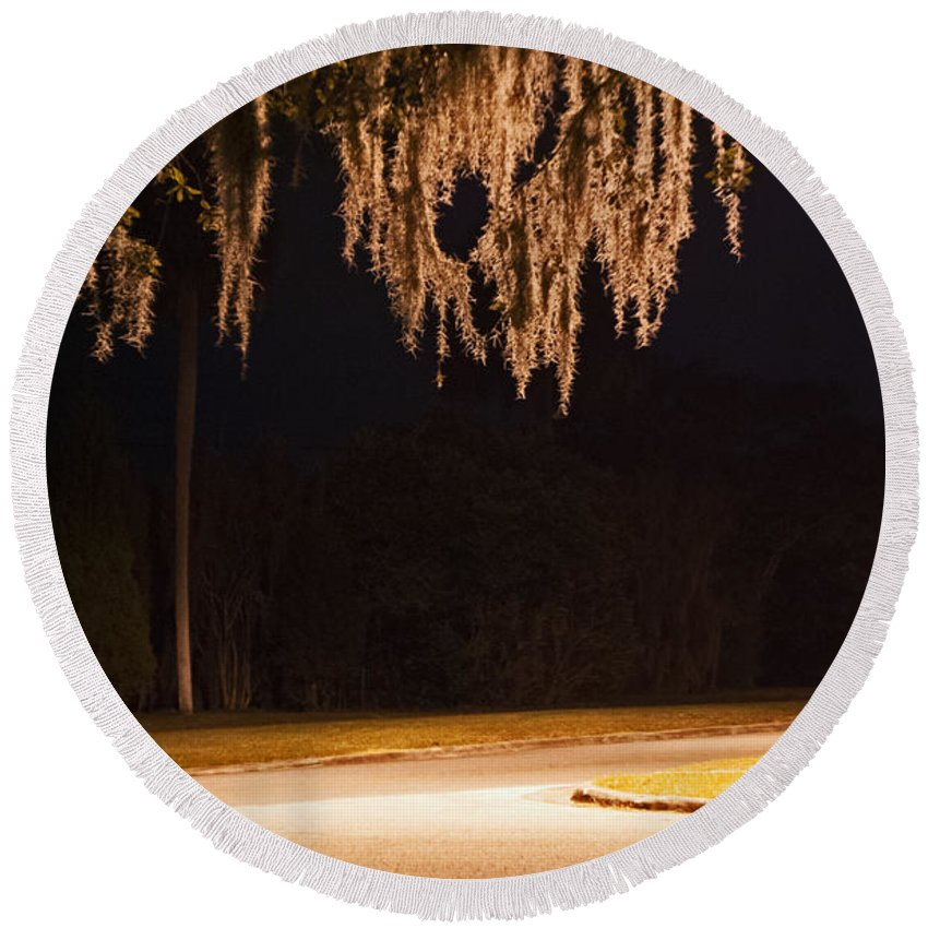 Spanish Moss Round Beach Towel featuring the photograph Mosssickles Silver by George D Gordon III
