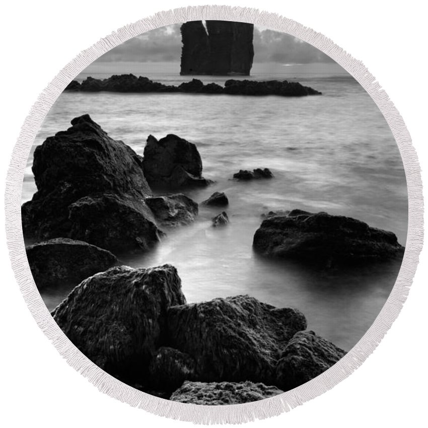 Azoren Round Beach Towel featuring the photograph Mosteiros Islets by Gaspar Avila