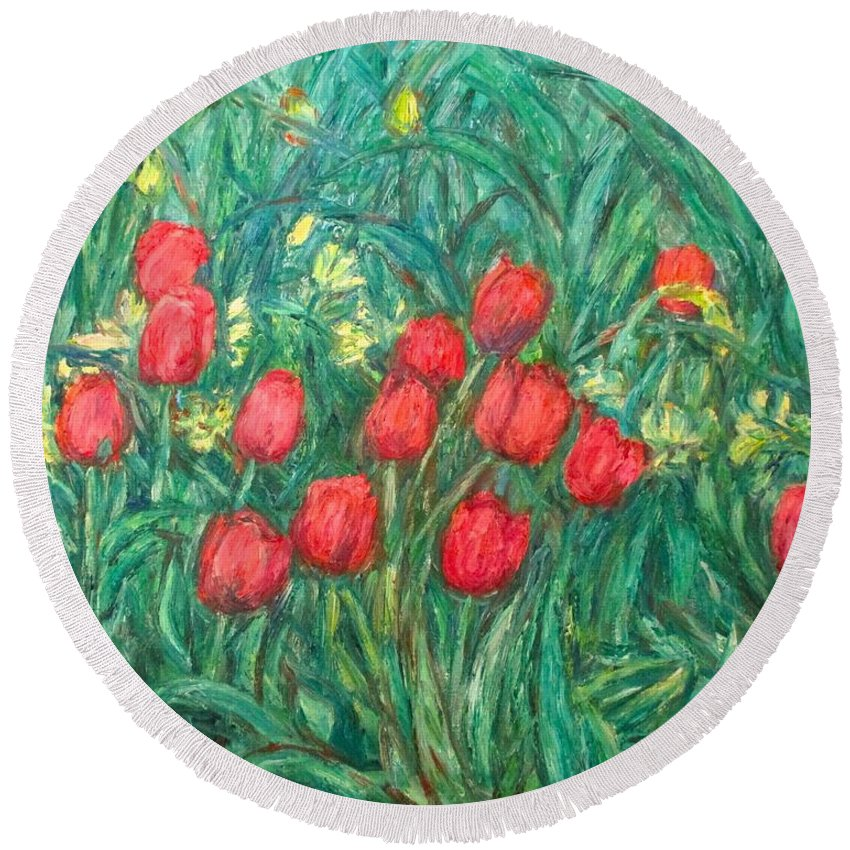 Kendall Kessler Round Beach Towel featuring the painting Mostly Tulips by Kendall Kessler