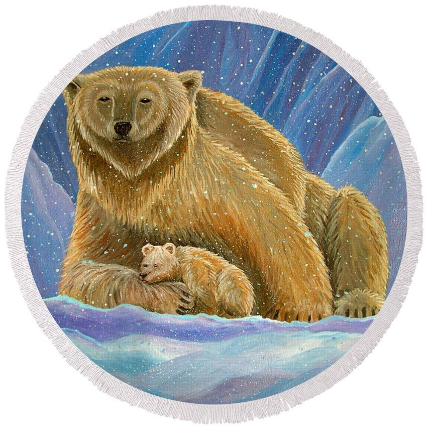 Polar Bear Round Beach Towel featuring the painting Mother And Baby Polar Bears by Nick Gustafson