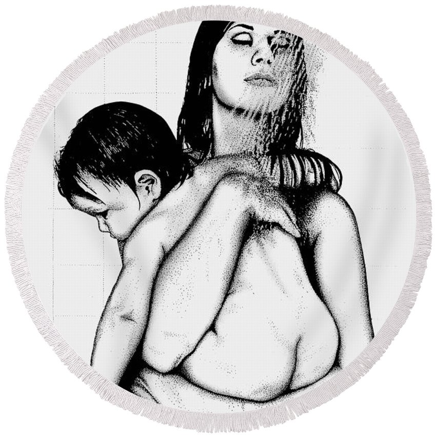 Mother And Child Round Beach Towel featuring the drawing Mother And Child by Larry Lehman