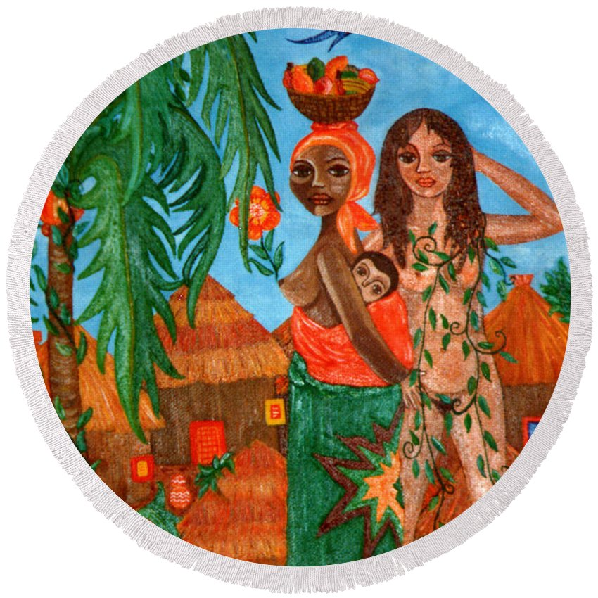 Mother Round Beach Towel featuring the painting Mother Black Mother White by Madalena Lobao-Tello