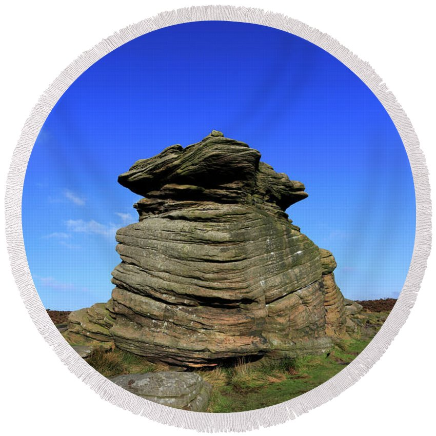 Mother Cap Round Beach Towel featuring the photograph Mother Cap Gritstone Rock Formation, Millstone Edge by Dave Porter