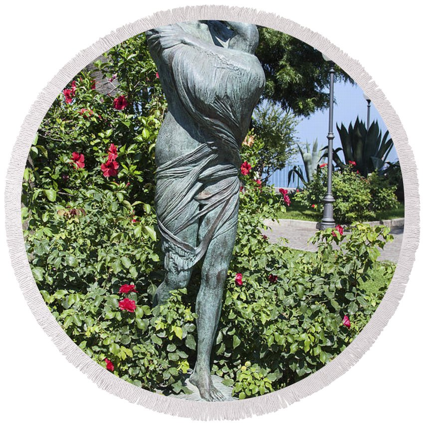 Mother Child Statue Round Beach Towel featuring the photograph Mother Child Statue by Sally Weigand