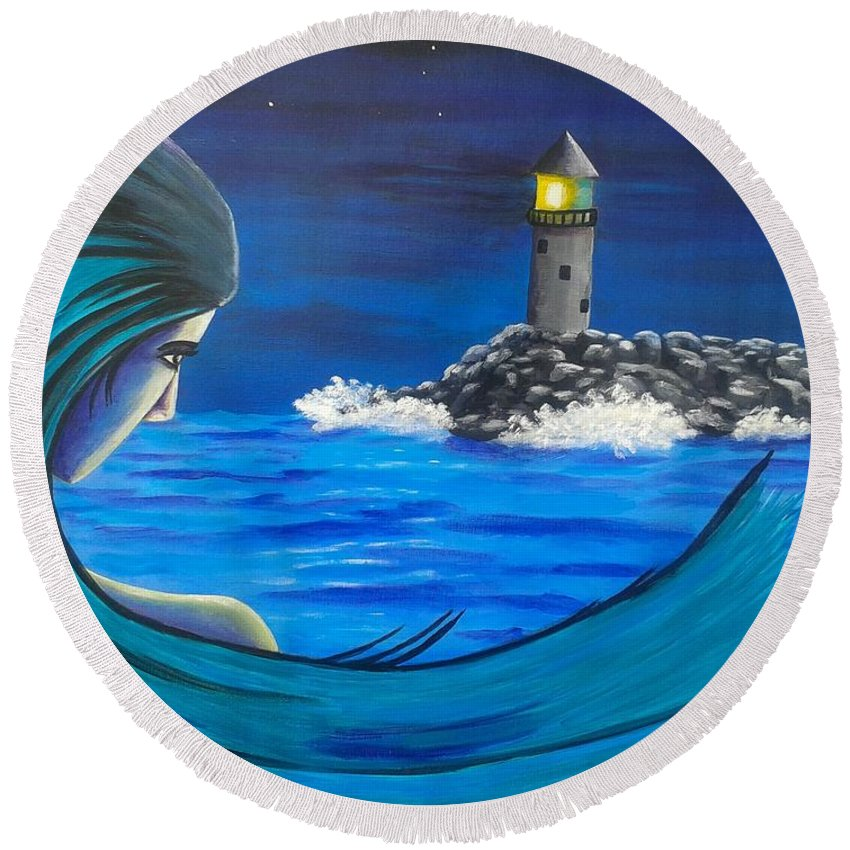 Mother Earth Round Beach Towel featuring the painting In The Glow Of The Lighthouse by New Chapter Art