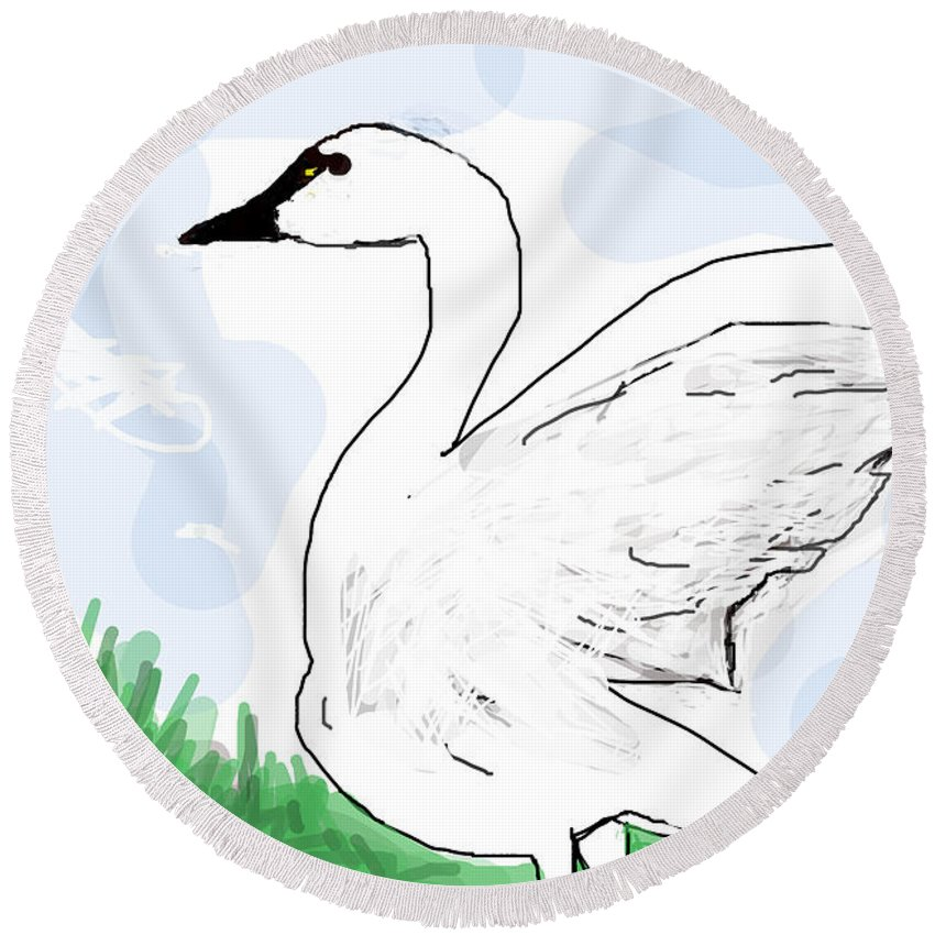 Goose Round Beach Towel featuring the digital art Mother Goose by Paul Sutcliffe