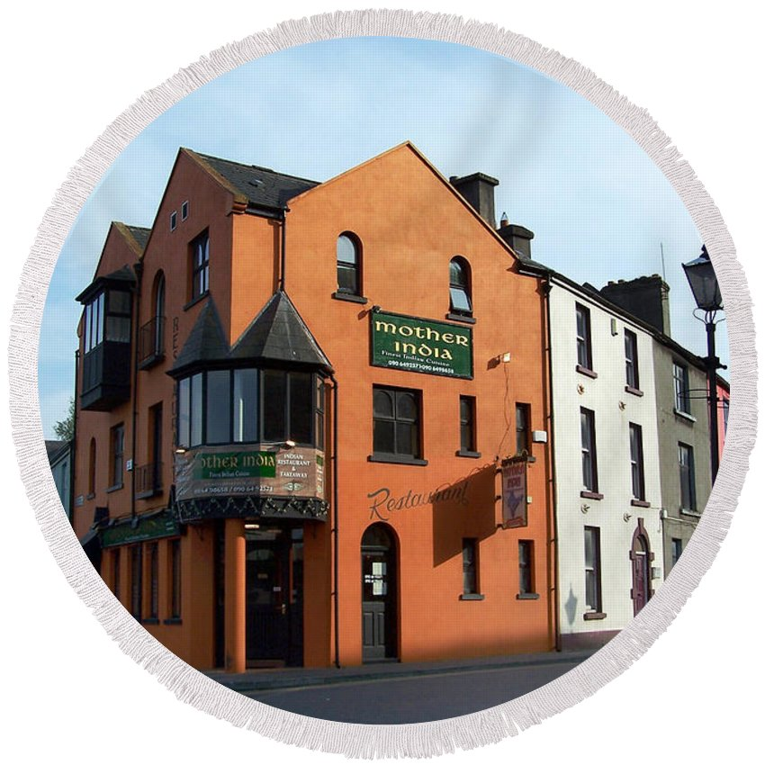Ireland Round Beach Towel featuring the photograph Mother India Restaurant Athlone Ireland by Teresa Mucha