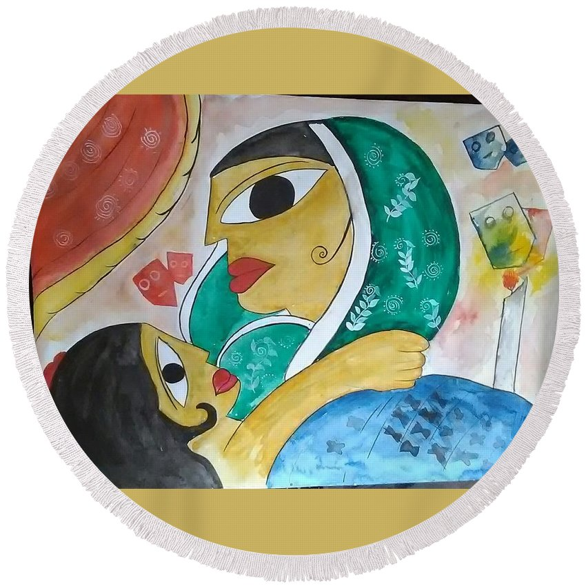 Round Beach Towel featuring the drawing Mother Love by Pritam Modak