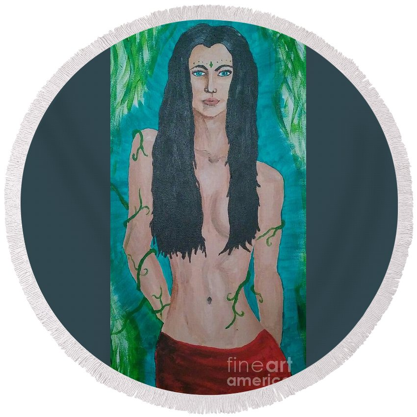Woman Round Beach Towel featuring the painting Mother Nature by Heather James