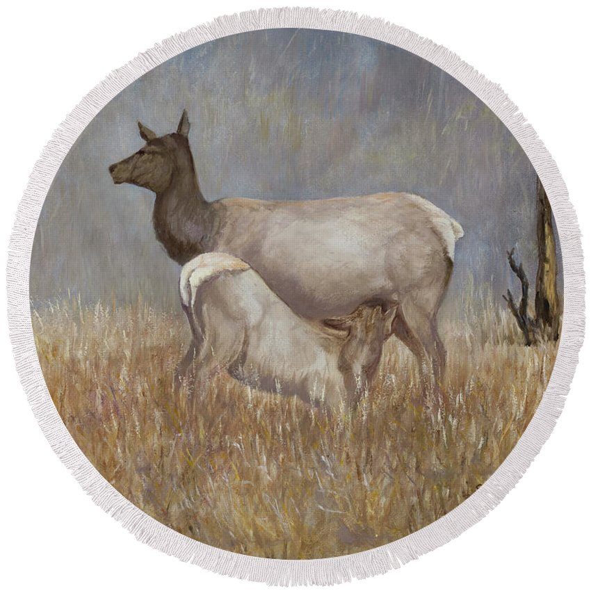 Animal. Wildlife. Elk. Mother And Baby. Nature Round Beach Towel featuring the painting Mother Nature by Sharon Karlson