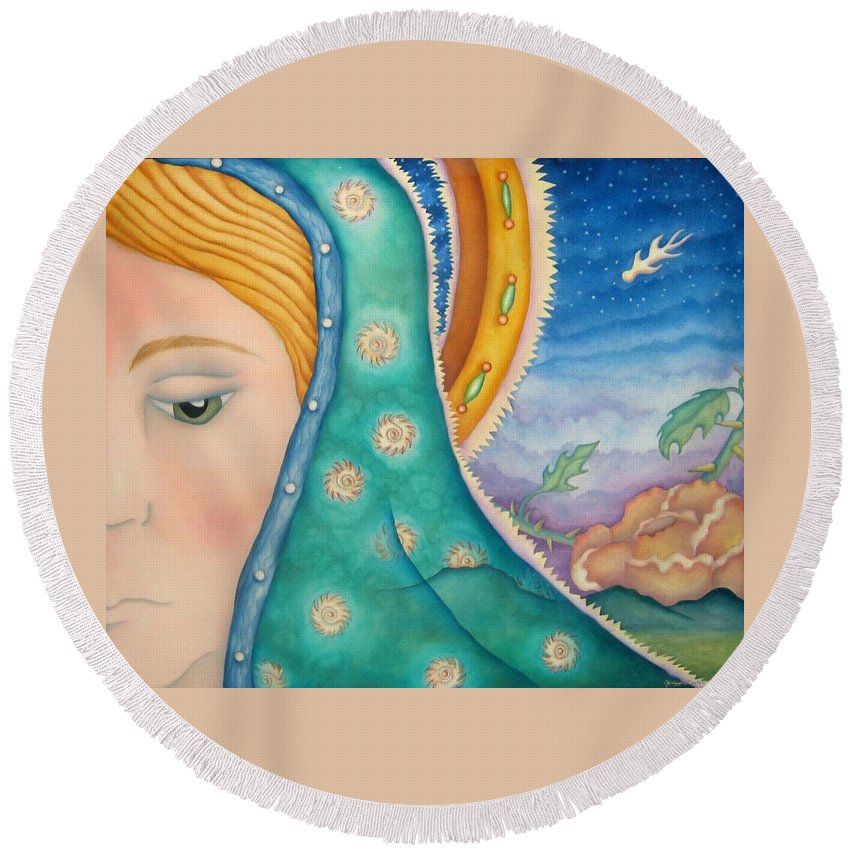 Texas Round Beach Towel featuring the painting Mother Of My Soul by Jeniffer Stapher-Thomas