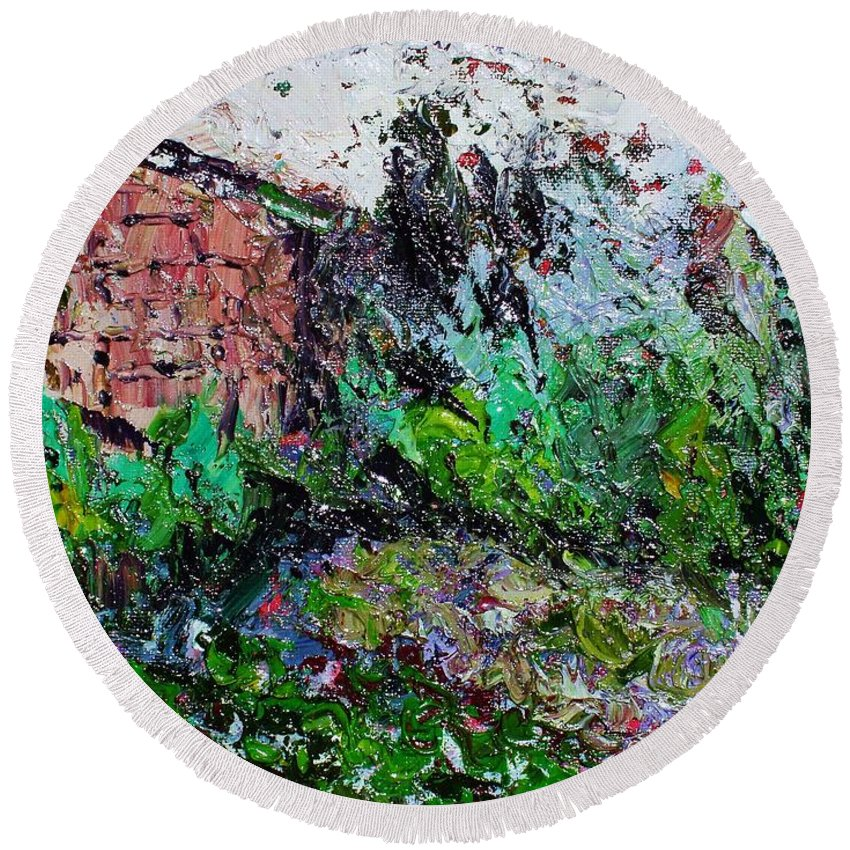 Garden Paintings Round Beach Towel featuring the painting Mother by Seon-Jeong Kim