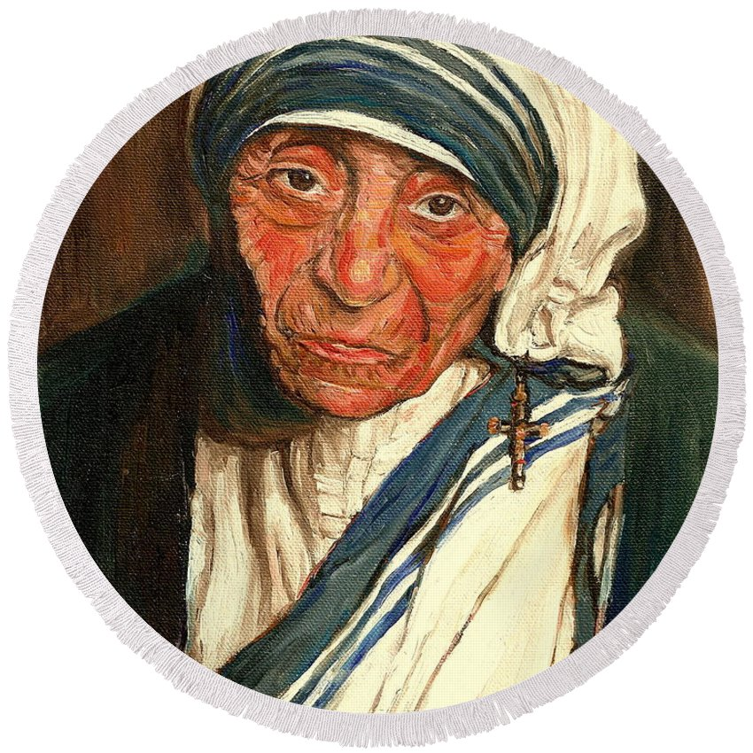 Mother Teresa Round Beach Towel featuring the painting Mother Teresa by Carole Spandau