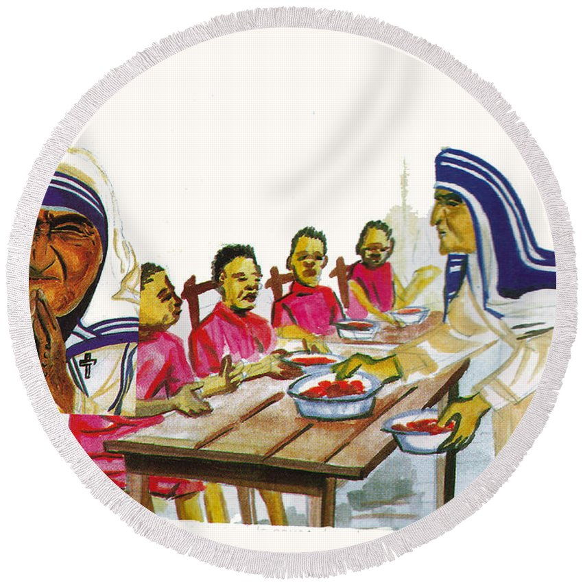 Religion Round Beach Towel featuring the painting Mother Teresa by Emmanuel Baliyanga