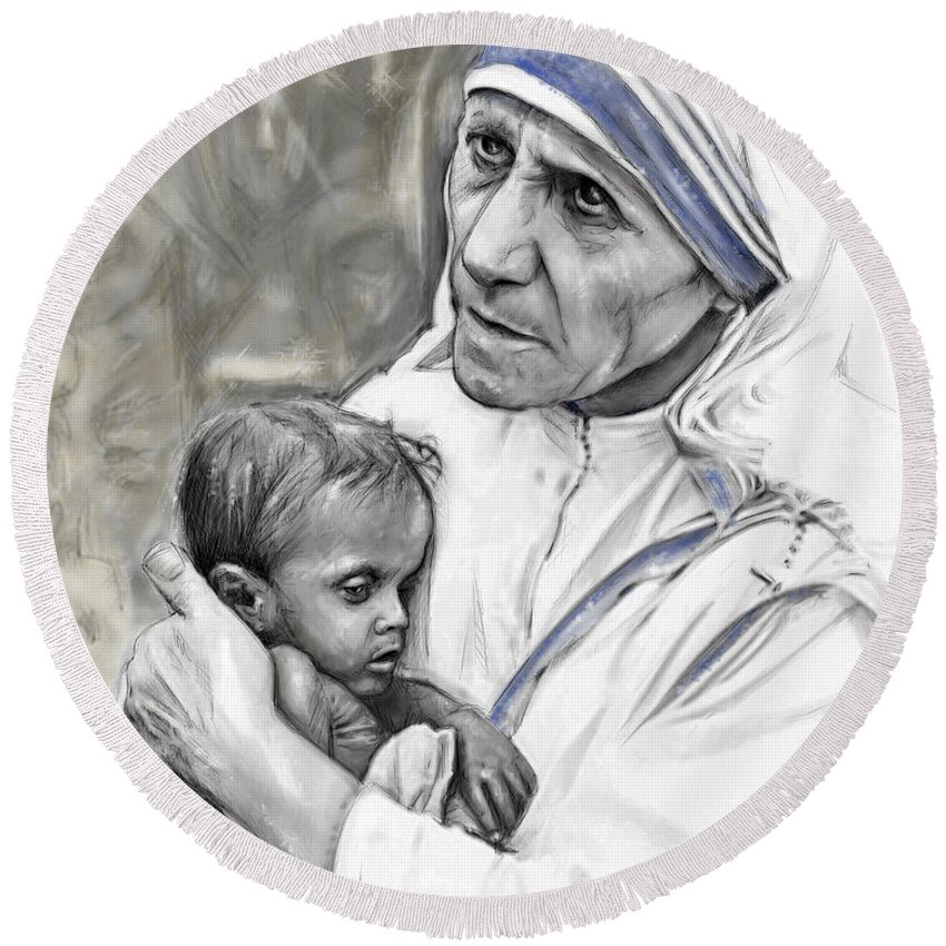 Kind Round Beach Towel featuring the mixed media Mother Teresa. God Bless This Child by Mark Tonelli