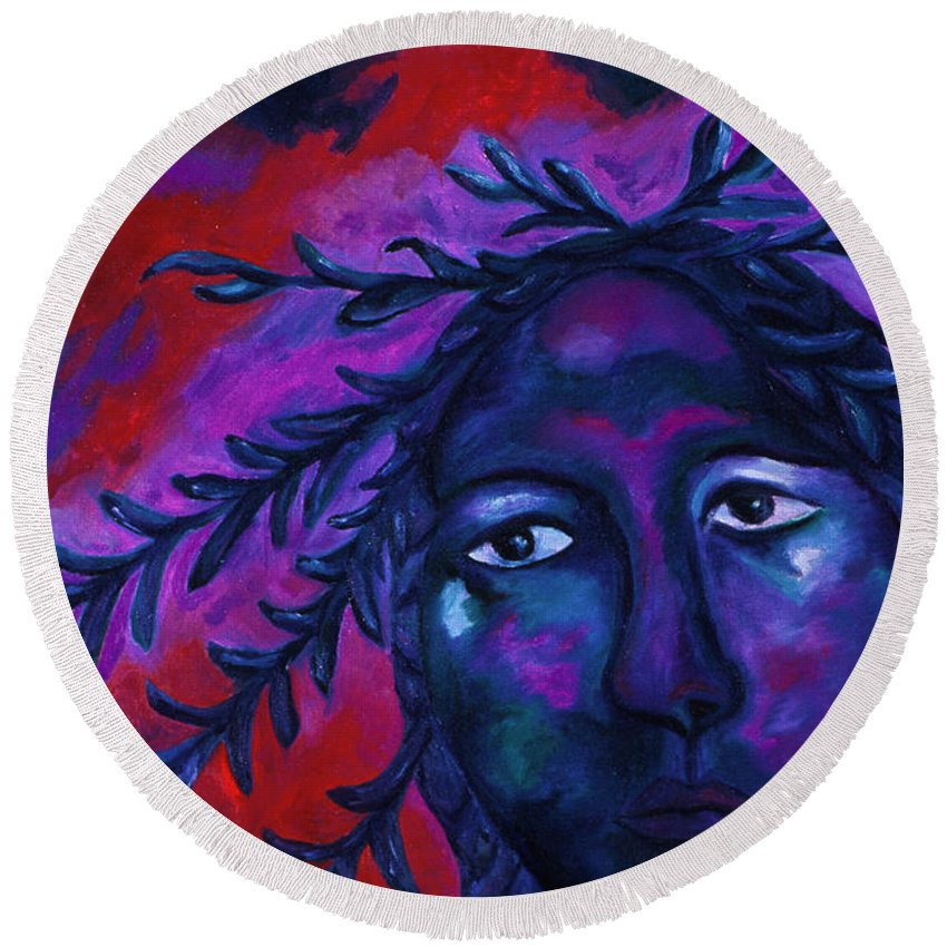 Colorful Round Beach Towel featuring the painting Mother Watching All by Diane Clancy
