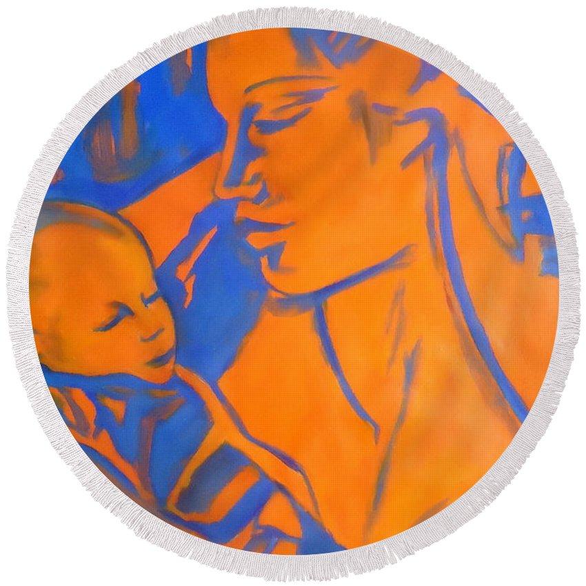 Art Round Beach Towel featuring the painting Motherhood II by Helena Wierzbicki
