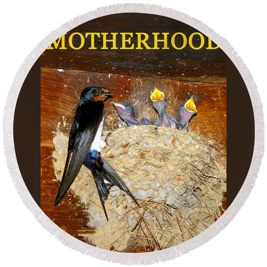 Motherhood Round Beach Towel featuring the photograph Motherhood Inspirational by David Lee Thompson