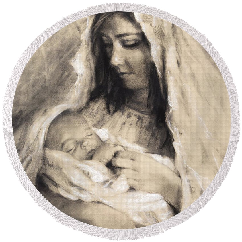 Mother Round Beach Towel featuring the drawing Motherhood by Steve Henderson