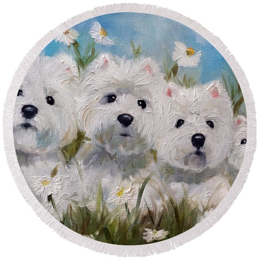 Westie Round Beach Towel featuring the painting Mother's And Daughters by Mary Sparrow