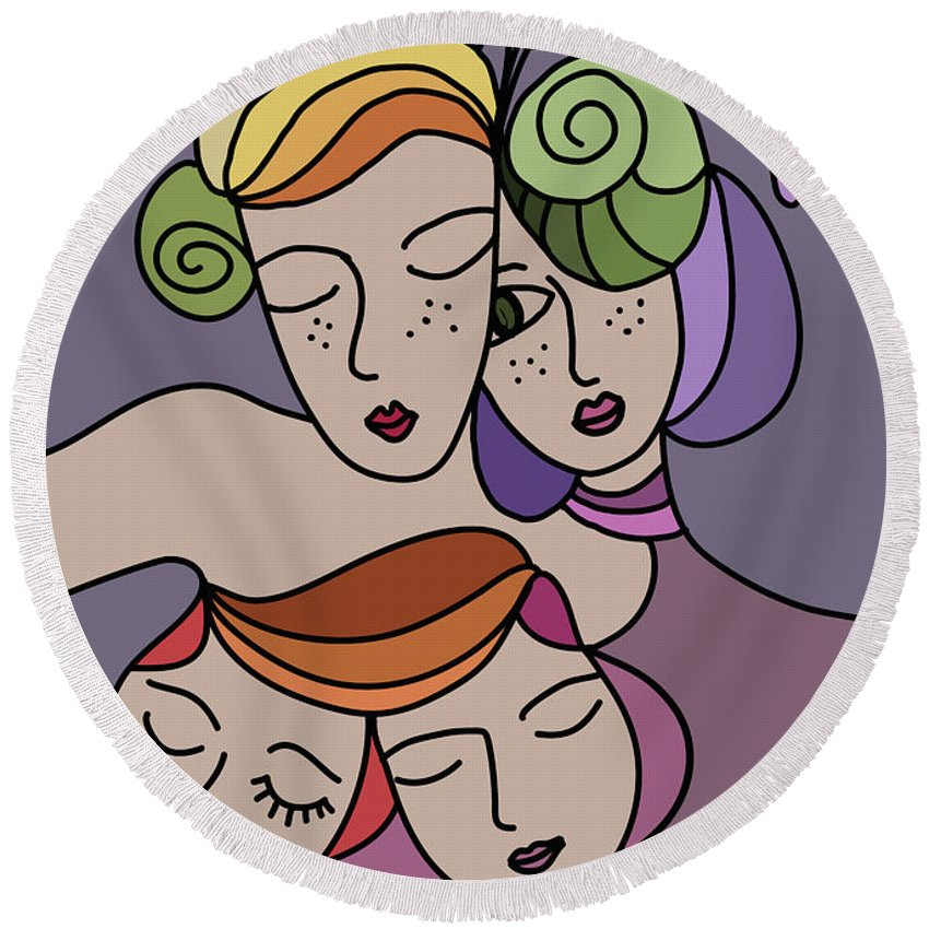 Mothers Day Round Beach Towel featuring the digital art Mothers And Daughters by Greatom London