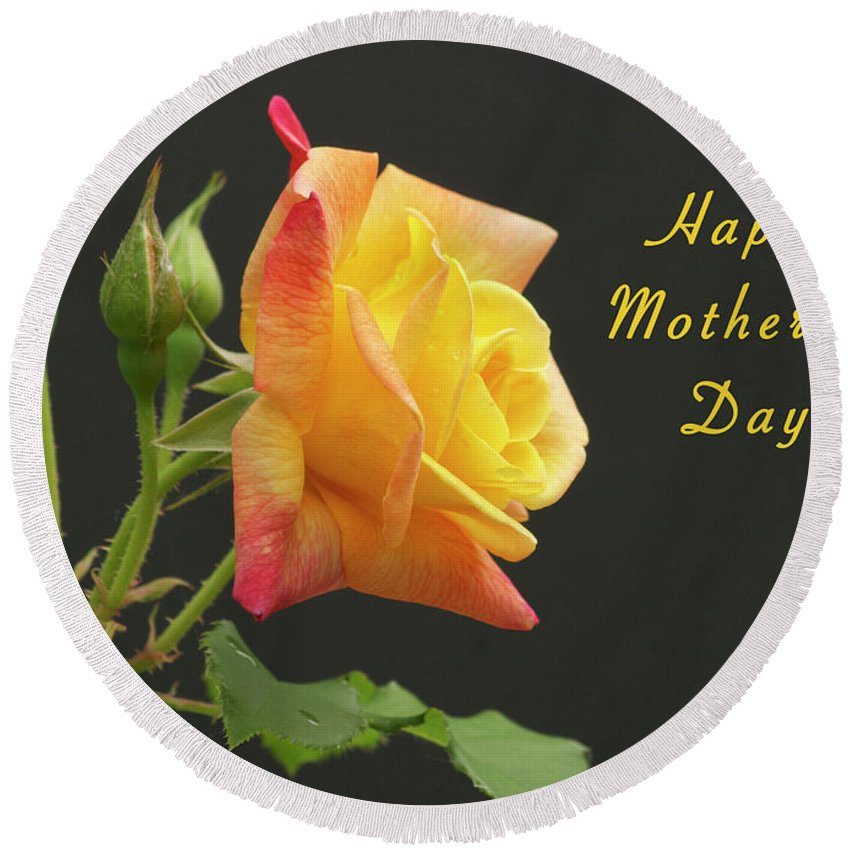 Mother Round Beach Towel featuring the photograph Mothers Day Card 4 by Michael Peychich
