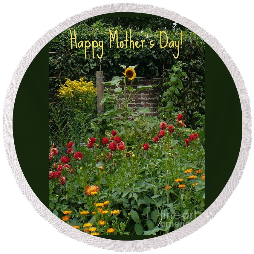 Mother's Day Card Round Beach Towel featuring the photograph Mother's Day Card--dutch Garden by Carol Groenen