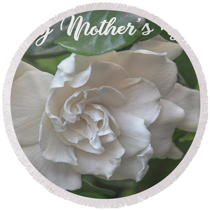 Gardenia Round Beach Towel featuring the photograph Mother's Day Gardenia by Teresa Wilson
